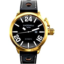 Chotovelli Italian Navy Men's Automatic Gold Watch Analogue display Black Leather Strap 79.5