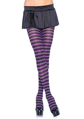 LEG AVENUE 7100 - Blickdichte Ringel-Strümpfhose Kostüm Damen Karneval, Einheitsgröße, schwarz/lila