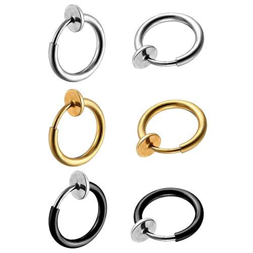 Oidea Damen Herren Ohrstecker Set (3 Paare), runde Kreis Creolen Ohrringe ohne Loch Fake Clip Ohrpiercing Non Piercing Schmuck, schwarz silber gold (Set3)
