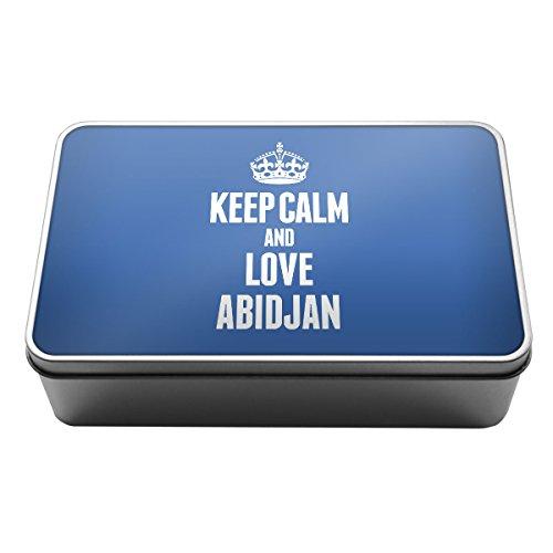 Blau Keep Calm und Love Abidjan Metall Aufbewahrungsdose Box 2310