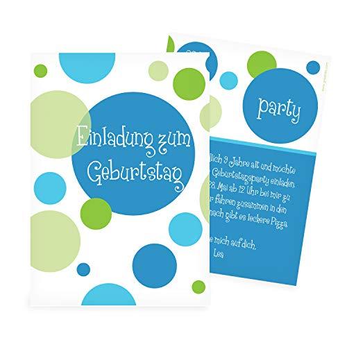 greetinks Hochwertige Einladungen zum Kindergeburtstag | Verschiedene Designs auswählbar | Inkl. Druck Ihrer Texte | 'Bubbles' | 100 Stück | Geburtstag Kinder - Jungen & Mädchen (Personalisieren Sie Die Einladungen)