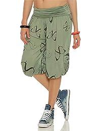 ZARMEXX Señoras 3/4 bombachos estilo Capri pantalones harén pantalones cortos de verano de yoga hasta la rodilla Aladin un tamaño