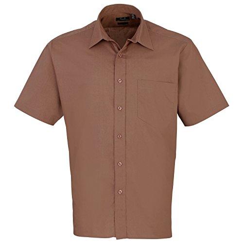 Premier Workwear Herren Businesshemd Poplin Short Sleeve Shirt Moccha
