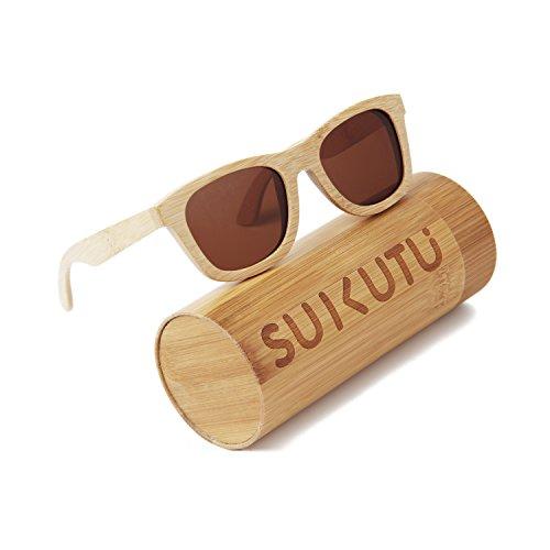 SUKUTU bambú ligero de madera entera marco gafas de sol polarizadas lentes hombre mujer gafas de sol flotante Wayfarer estilo gafas (marrón)