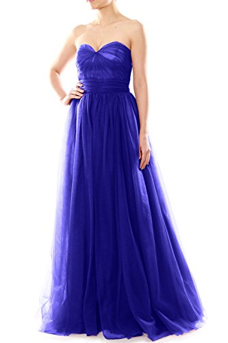 MACloth Women Long Sweetheart Convertible Tulle Wedding Party Bridesmaid Dress Königsblau