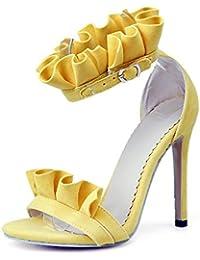 ZHZNVX Zapatos de Mujer Flocado Bomba Básica Primavera Verano Sandalias Stiletto Talón Open Toe Hebilla para Office...