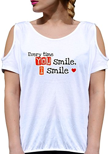 T SHIRT JODE GIRL GGG27 Z2444 EVERY TIME YOU SMILE I SMILE LOVE HEART FUNNY FASHION COOL BIANCA - WHITE