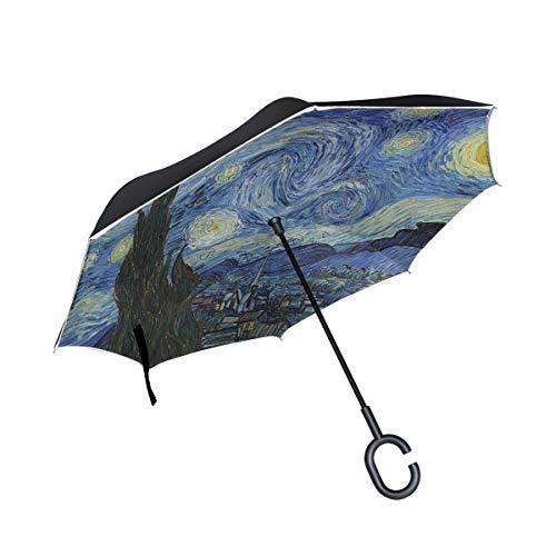 rodde Reverse Starry Night Van Gogh Ölgemälde net Regenschirme für Outdoor mit C-förmigen Griff Double Layer Inverted Windproof