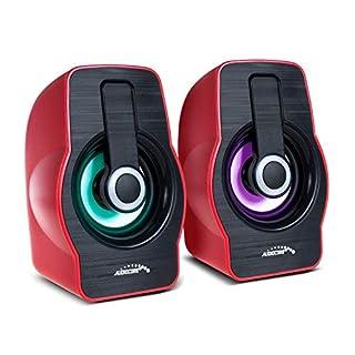 Audiocore AC855 Stereo-Lautsprecher mit Bunter LED-Beleuchtung PC-Lautsprecher 6W RMS USB-Stromversorgung Kompakt Rot