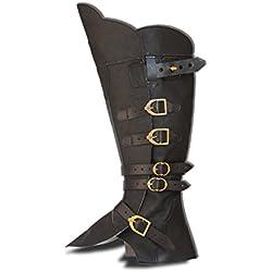 CP-Schuhe Larp Polainas Botas Sirven Pirata de Mosquetero Medieval Carnaval, Color Negro, Talla XL