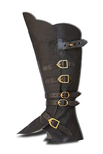 CP-Schuhe Mittelalter Gamaschen Stiefelstulpen (XL, Schwarz)