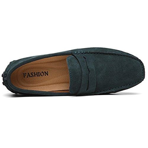 Herren Klassische Mokassin Lederschuhe Bootsschuhe Flache Slippers Wildleder Loafers Fahren Halbschuhe Navy