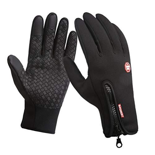 EDOTON Touchscreen Handschuhe Winter Dicke Warme Handschuh Wasserdichte Outdoor Radfahren Handschuhe Skifahren Laufen Wandern Motorrad Handschuh für Männer Frauen Schwarz 3 Größe (L, Schwarz)