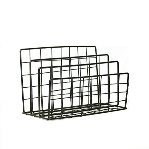IIWOJ Grid Iron File Rack Zeitung Rack Magazine Zeitung Holder Büro Speicher Korb,Black -