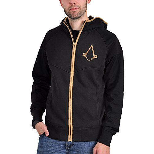 Assassins Creed Syndicate Kapuzen Jacke mit Bronze Logo schwarz - (Kapuze Creed Assassins)