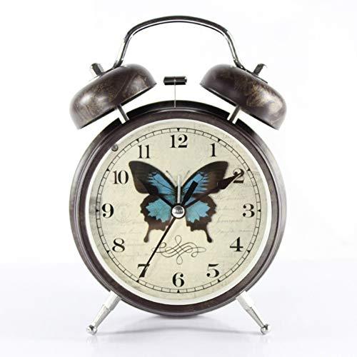 GX&XD Vendimia Twin Bell Reloj,Creativo Clásico No Tic-TAC Despertador con Respaldo de batería Silencioso Luz de Noche Reloj de Viaje para los niños del hogar de la Oficina-C