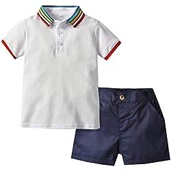 Moneycom Enfants Col de Couleur Unie Chemise + Shorts Costume de Sport Gentleman Wear Toddler Bébé Garçon Gentleman Polo Arc en Ciel Col T-Shirt + Uniforme Shorts Vêtement Outfit Blanc(2-3 Ans)
