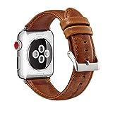 MroTech Lederarmband für Apple Watch Armband 42mm und 44mm echt Leder iWatch Uhrenarmband kompatibel für Apple Watch Serie 1 2 3 4, Sport Edition Nike+ (42 mm, Braun)