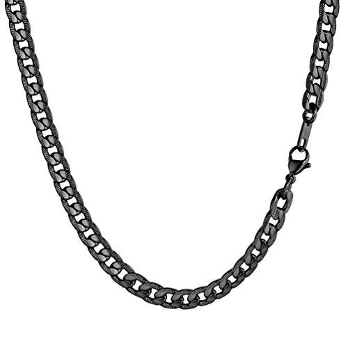 PROSTEEL Herren Kette Edelstahl Panzerkette Halskette Link Kette 7MM Breit Gliederkette für Herren, 66CM lang, Schwarz