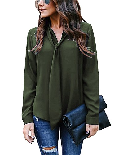 Donna Elegante Chiffon Maglietta Collo V Maniche Lunga Senza Spalline Moda T-Shirt Loose Basic Bluse Tunica Top A Verde