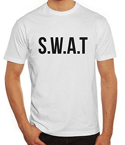 Fasching Karneval Herren T-Shirt mit SWAT Kostüm 1 Motiv von ShirtStreet, Größe: S,weiß (Weiß Halloween-kostüm T-shirt)
