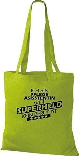 Borsa di stoffa SONO pflegeasisstentin, WEIL supereroe NESSUN lavoro è Kiwi