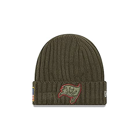 New Era NFL TAMPA BAY BUCCANEERS Salute to Service 2017 Authentic Sideline Beanie Knit
