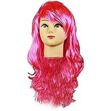 HAAC Peluca de Pelo Largo Largo lockig Ondulado Color Rosa para Fiesta De Carnaval