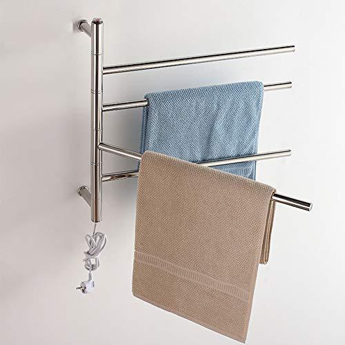 Schwenkbarer Handtuchwärmer (Towels and shelves Wandmontierter, beheizter Handtuchhalter, drehbarer Handtuchhalter mit 4 Stangen, schwenkbarer Handtuchhalter für Bad-WC 550 x 630 x 125 mm,HardWiring)