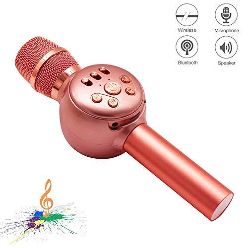 Preisvergleich Produktbild Drahtloses Bluetooth-Karaoke-Mikrofon 3-in-1-tragbares Handheld-Mikrofon Karaoke-Player-Multifunktions-LED-Licht Geschenk für Freunde und Kinder kompatibel mit allen intelligenten digitalen Produkten