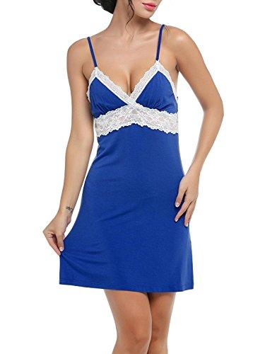 Ekouaer Nachtwäsche Sleepwear Sexy Negligee Träger Nachthemd Nachtkleid V-Ausschnit kleid mit Spitzenbesatz für Damen Blau