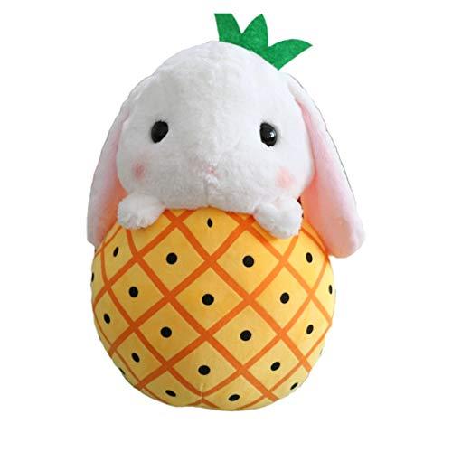 YDGHD Cute Stuffed Rabbit Plush Spielzeug In Der Früchteschule Cartoon Bunny Plush Werfen Kissen-dekorats-lustige Geschenke Für Kinder Hamster in Ananas 40X50cm (Werfen Kissen Ananas)