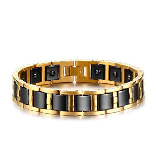 gudeke-mens-black-gall-stone-ceramics-health-stainless-steel-bracelet-bangle-cuff-wristband