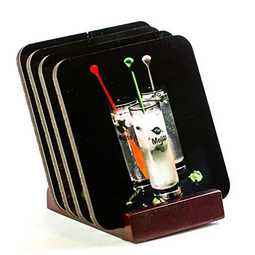 Untersetzer - Set mit vier Getränken: Bier, Whiskey, Mojito und Margarita, mit Untersetzerhalter, perfekt für Bar-Dekoration. Korkboden verhindert, dass Möbel schmutzig und zerkratzt werden