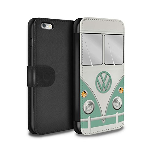 STUFF4 PU-Leder Hülle/Case/Tasche/Cover für Apple iPhone 6+/Plus 5.5 / Türkisgrün Muster / Retro T1 Wohnmobil Bus Kollektion Türkisgrün
