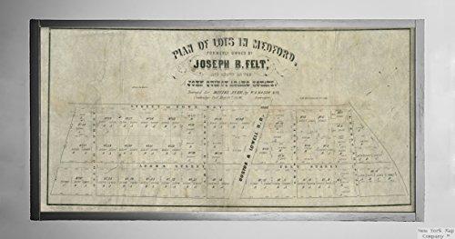 1856Map|Middlesex|Medford Plan Viele in polnischer Medford (, von Joseph B. Filz, und Known|Historic Antik Vintage Reprint|Ready Zum Rahmen