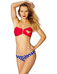 Dc Comics Wonder Woman Zipper Bandeau/zipper Low Rise Bikini Set