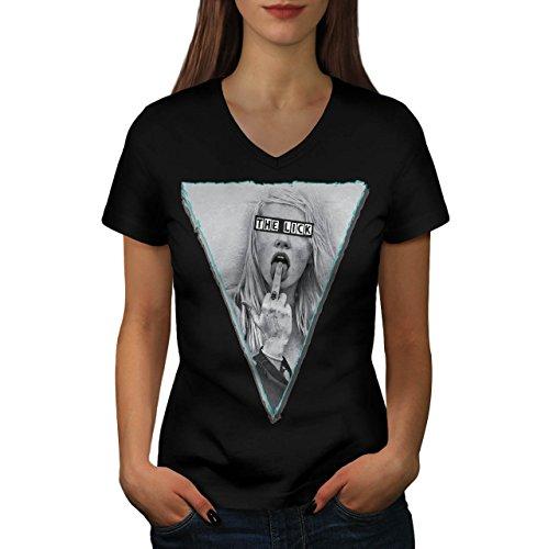 Unhöflich Finger Kostüm (Mädchen Lecken Finger Sexy Musik Abdeckung Damen XL V-Ausschnitt T-shirt |)