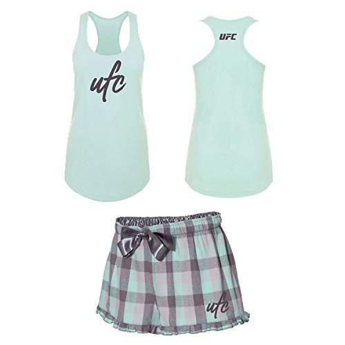 UFC Damen Pyjama-Set, Damen, Women's Pajama Tank/Short Set, Mint/Gray, Large -