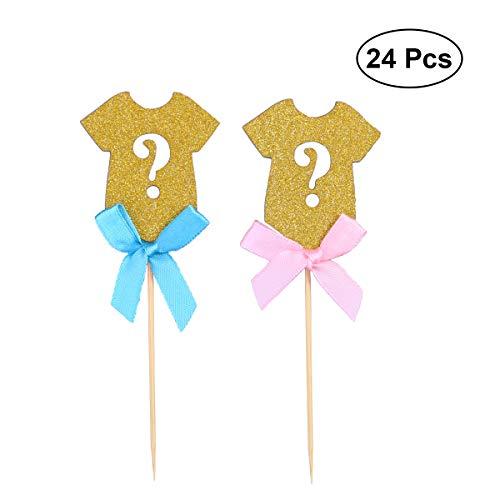 YeahiBaby Kuchen Topper Glitter Bowknot Cupcake Picks Dekoration Baby Dusche Geburtstag Hochzeit Partei begünstigt Lieferungen (blau/pink) 24st
