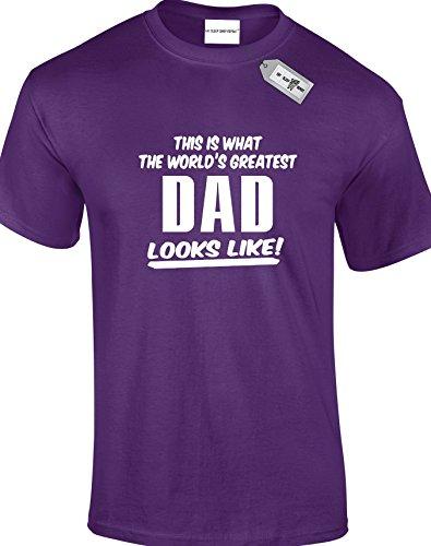 This Is What The World 's Greatest Dad Looks Like. Herren Unisex Erwachsene T-Shirts. KOSTENLOSE LIEFERUNG IM LIEFERUMFANG ENTHALTEN. Violett - Violett