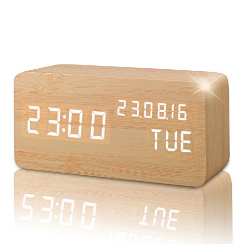 Reloj Alarma Despertador Digital de Madera, Silencioso LED Pantalla Brillo Ajustable / Control de Sonido, Reloj de Mesa Indicador Calendario Tiempo y Temperatura para Hogar y Oficina (Amarillo-2)
