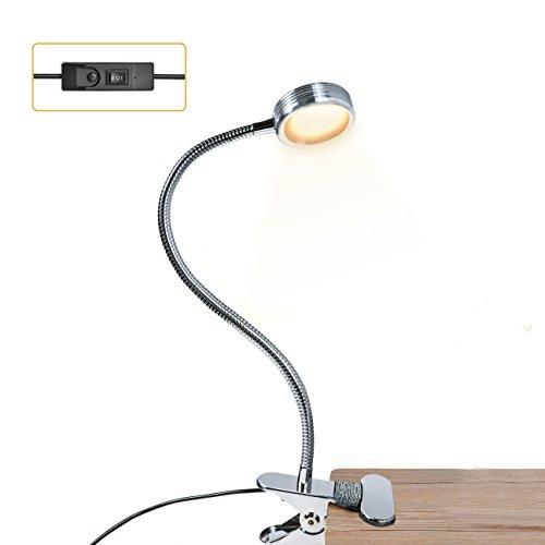 LED Klemmleuchte,LUXJET® Schreibtischlampe USB Buchlampe, 3 Lichtfarbe(warm/weiß von Eastlion/taglicht) und 2 Helligkeitstufe Leselampe für Schlafzimmer Büro (Silber) (Clip-on-lichter Zum Lesen)