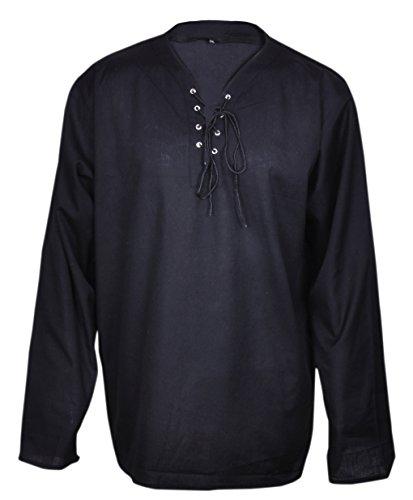 Beiläufiges Sommer Renaissance Piraten Shirt Schwarz Farbe Mittelalterlichen Hippie Kostüm Männer Große