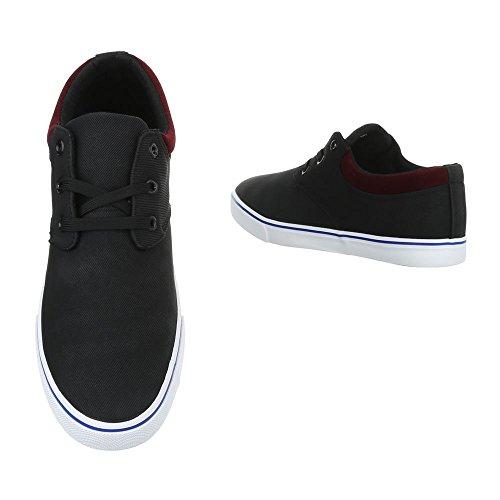 Schnürschuhe Herrenschuhe Oxford Sneakers Schnürsenkel Ital-Design Halbschuhe Schwarz