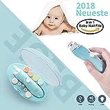 Elektrisches Baby Nagelfeile,USB-Ladevorgang, Nagelknipser Set 9 in 1, HAIGE Baby Maniküre/Pediküre Set,Baby Nagelpflege mit LED Licht für Neugeborene, Kleinkind und Mom Zehen und Fingernägel(Blau)