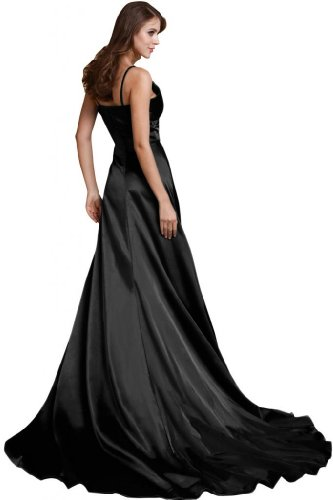 Sunvary una linea Spaghetti, spalline abito da sera lungo Celebrity Dress Black