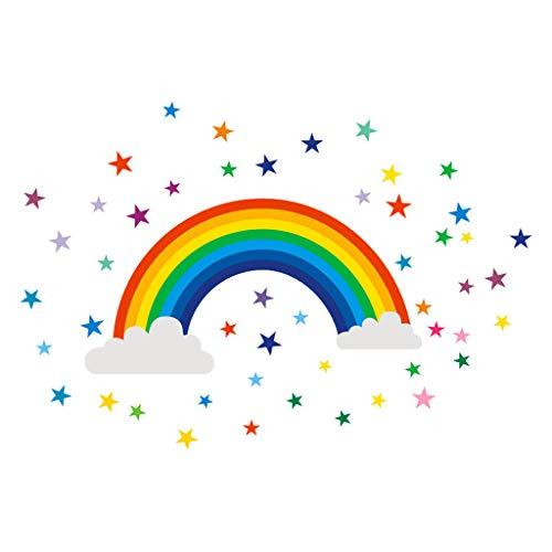 KonJin Wandtattoos Home Decor Regenbogen Sign Aufkleber Abziehbild Schlafzimmer Vinylkunst-Wand Wand Deko für Babyzimmer Kinderzimmer Möbel Wohnaccessoires