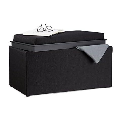 Relaxdays Storage Bench, HxWxD: 42.5 x 78 x 40 cm, Footrest, Padded Seat, Storage Box, Fabric-Look,