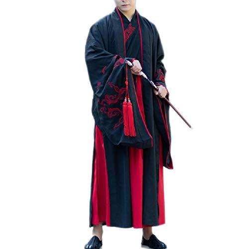 YKJ Schwertkämpfer Kostüm Traditionelles Rollenspiel Antikes Kostüm Rollenspiel Kostüm Performance Bekleidung Herren Schwarz Big Sleeve Jacke,Black-M